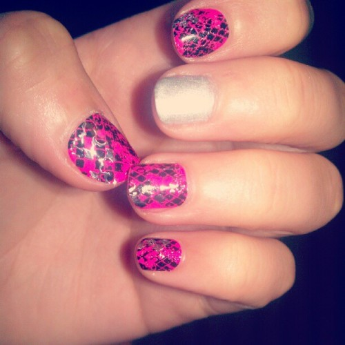 #nails for the week, :) #nails #cute #girly #love #pink #shellac #snake #silver #therapy  (Taken with Instagram at European Bodywraps, Olive Branch)