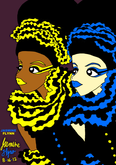 Blue and Yellow. a digital drawing by me, Jasmine Flynn :)