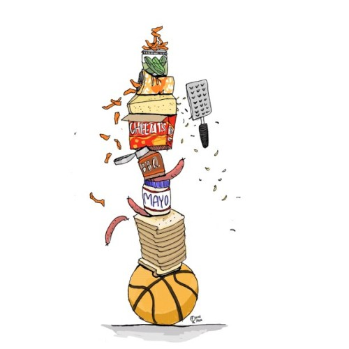 "Lil drawing for a lil Zine. Food combos named after basketball stars. Available next month in the ""gross"" issue of Runcible Spoon. #zine #illustration #drawing #cartoon #food (Taken with Instagram)"