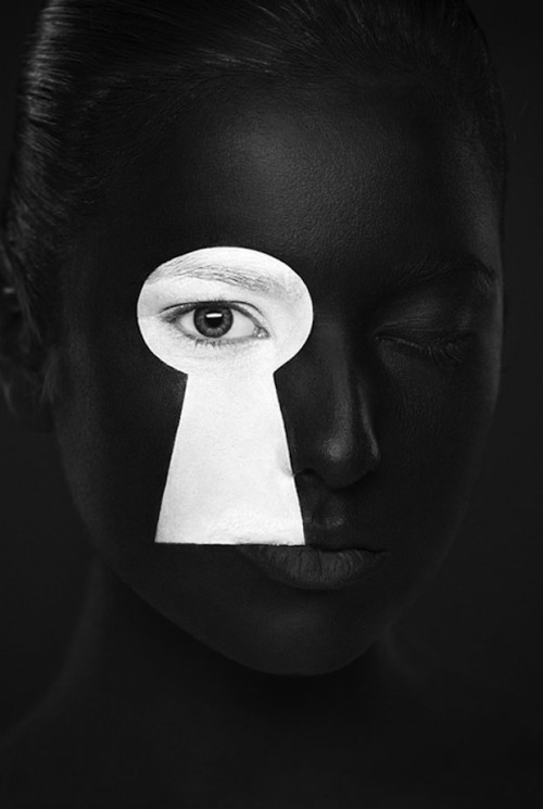 "Black & White Faces by Alexander Khokhlov Taken from new Alexander's new personal project titled ""WB - Weird Beauty"". Face art was created by Valeriya Kutsan, view the entire series here.  Artists: 