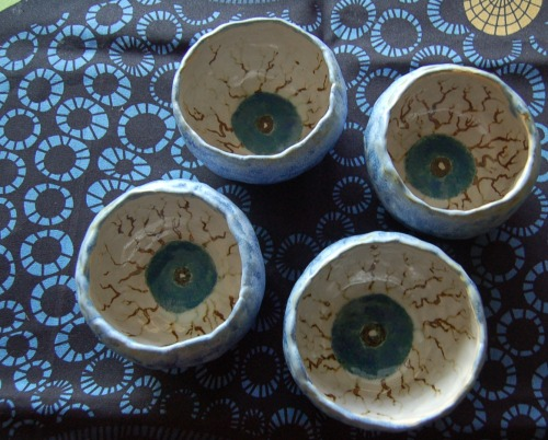 Eyeball Bowl Set, ceramic, 2012  the first of my ceramic work from summer term! more pics soon
