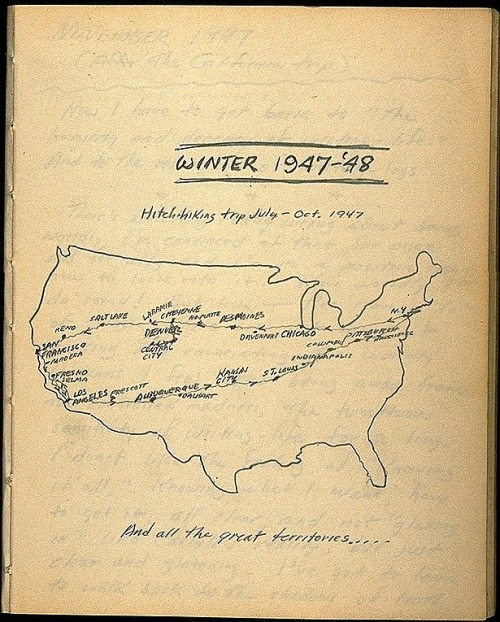 A map drawn by Jack Kerouac of a hitchhiking trip he took from July to October 1947, much of which later became On The Road.