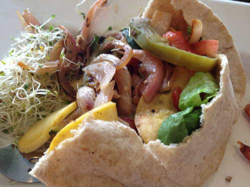 Grilled veggie pita. Vegetarian restaurants are one of the few reasons I enjoy living in a big city. :)