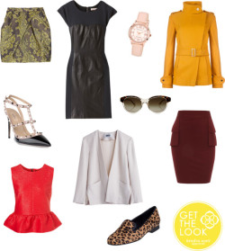 Kendra's Must-Haves for Fall by kendrascott featuring a tiered skirtRebecca Taylor zipper dress / Peplum shirt / Ted Baker belted jacket / Vivienne Westwood Anglomania short mini skirt / Dorothy Perkins tiered skirt / Valentino studded high heels / Leopard kitten heels / Anne Klein logo watch / Stella mccartney, $250
