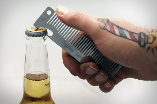 The Old Familiar Comb Bottle Opener not only keeps you high-and-tight, it also helps you crack open a bottle of your favorite liquid bread.