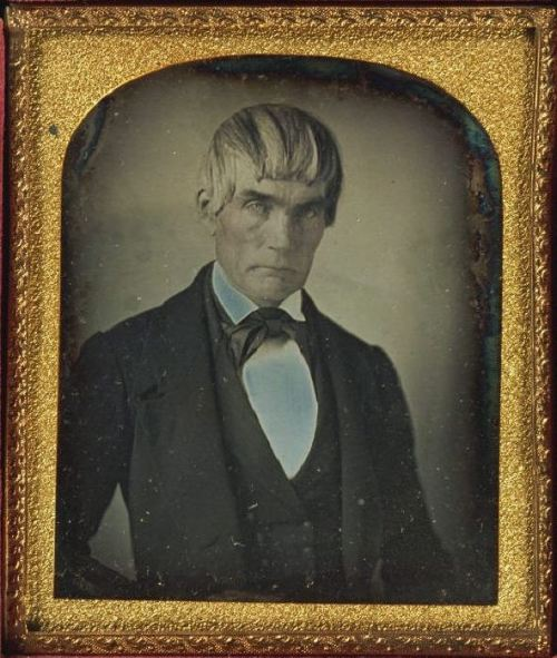 ca. 1840-60, [daguerreotype portrait of a gentleman with an intense stare and an extreme comb-over], William M. Shew via Harvard University's Houghton Library, Department of Printing and Graphic Art, Harrison D. Horblit Collection of Early Photography