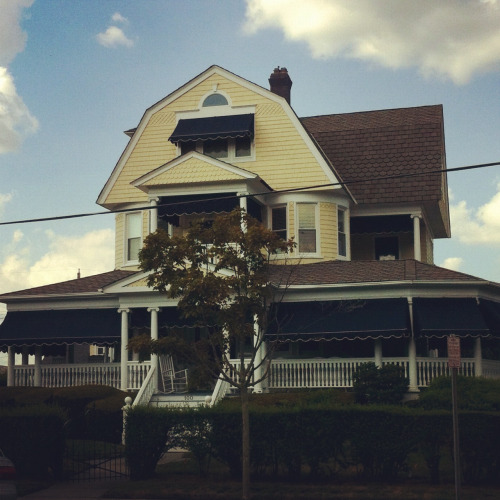 "ourtangledbones:  I LOVE the houses by the beach. When I am a professor, I will have a Victorian house just like this, and every day I will idiotically prance around the porch singing ""By the Sea"" from Sweeney Todd. I'm sorry to my future family who will have to listen to my foolish tittering."