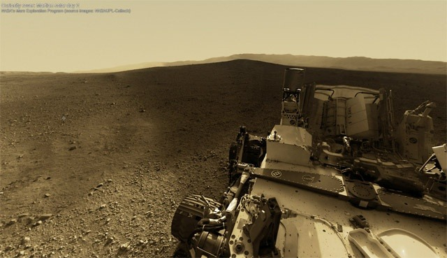 This high-res panorama of Curiosity on Mars is pretty incredible. Hello red planet.   	 	    (via An Interactive 360° Panorama of Curiosity's Landing Site on Mars | Colossal)