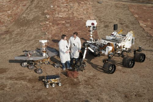 Mars Science Laboratory (2004 Curiosity), Mars Exploration Rover (2004 Spirit and Opportunity) and Sojourner (1997). Oh, and a couple of humans too.