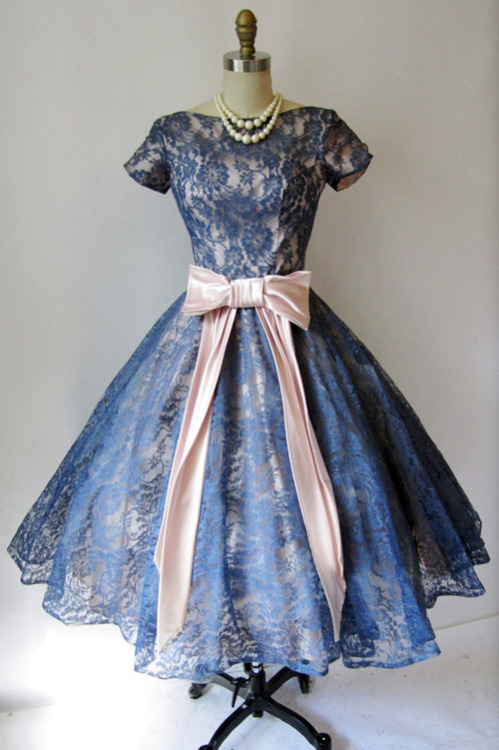 vintagegal:  1950's Blue Lace Illusion Cocktail Dress