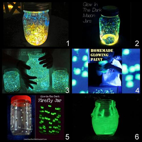 Roundup of DIY Galaxy and Glow In The Dark Jars Tutorials. What I found for searching for good tutorials: lots of identical photos with no source and half baked  tutorials that pretend to recreate the source photo with no photo to back it up, and Pinterest links to general boards (UGH). *Tip: glow sticks don't last more than a night. Glitter and Glow Stick Galaxy Jar Tutorial from Foam here. Glow Stick Jar Tutorial from One Late Night here. Glow Paint Undiscovered Galaxies' Jar Tutorial by From Panka with Love here. *Look in the comments section where people in the US buy glow in the dark paint, or go here or here. Do you want to make your own glow paint out of glue and yellow highlighters? DIY Glow Paint here and how to make glow water here from Train Up a Child. Glow Paint Dark Firefly Jar from Come Together Kids here. Glow Paint Small Jars from A Smith of All Trades here.