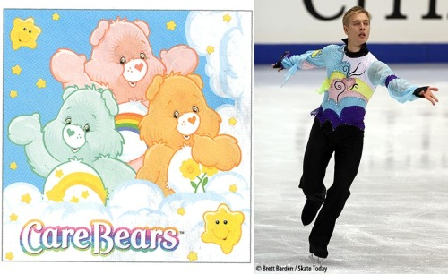 There was something very Care Bears-esque about Ari-Pekka Nurmenkari's short program costume at the 2007 World Championships. Source: http://photos.skatetoday.com/displayimage.php?album=59&pid=8335