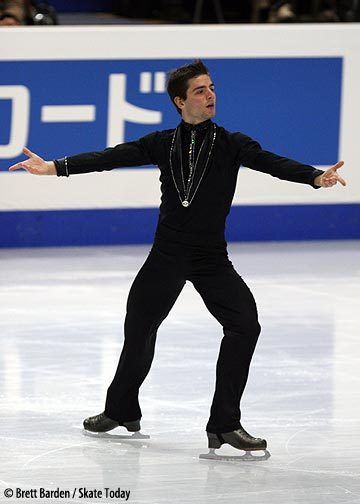 Yannick Ponsero skating his short program at the 2007 World Championships. It looks like he is wearing a silver medal.