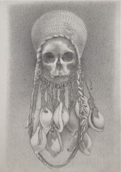 New drawing I did yesterday at the de Young Museum. Skull Reliquary from the Gulf of Papua.