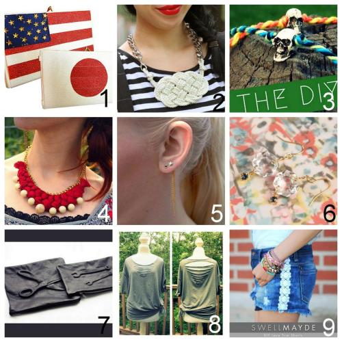 Roundup Nine DIY Jewelry, Accessories and Fashion Tutorials PART ONE. Roundup of this past week. August 12th - August 18th, 2012. *For past roundups go here: trebluemeandyou.tumblr.com/tagged/roundup DIY Recycled VCR Tape Box Clutch Two Ways from Clossette here. DIY Nautical Rope Necklace by Sly and Sam on Chictopia here. DIY Vanities Tiny Skulls Bracelet Tutorial from The Quiet Lion here. DIY Crochet Thread Braided Chain Necklace from FaSHionRoLLa here. DIY Detachable Earring Chain Extension Tutorial from into mind here. DIY Chandelier Earrings Tutorial from Small Good Things here. DIY Vlieger & Vandam Inspired Guarden Angel Leather Clutch Tutorial from Passions for Fashion here. *One of my favorite DIY ideas that I'm definitely going to try. DIY Front and Back Triangle Cut Tee Shirt Tutorial from Wobisobi here. DIY Lace Tuxedo Stripes for Shorts Tutorial from Swellmayde here.