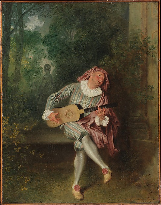 "ktkeating:  Jean-Antoine Watteau, Mezzetin, c.1718-20, oil on canvas, 21.75""x17"", The Metropolitan Museum of Art, New York. Beneath the pretty, there is always sadness…"
