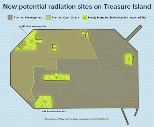 Radiation history on Treasure Island more widespread than reported Radioactive contamination at the Treasure Island Naval Station, where San Francisco plans to build a high-rise community for 20,000 residents, is more widespread than previously disclosed, according to a new U.S. Navy report and other documents obtained by our reporters. The draft report marks the first time the Navy has fully acknowledged that the island, created from landfill in 1937, was used as a repair and salvage operation for a Pacific fleet exposed to atomic blasts during the Cold War. Read the full story here.
