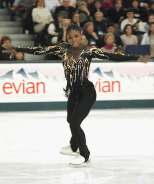 Surya Bonaly's free skate costume at the 1996 World Championships. Photo by Barry Mittan.