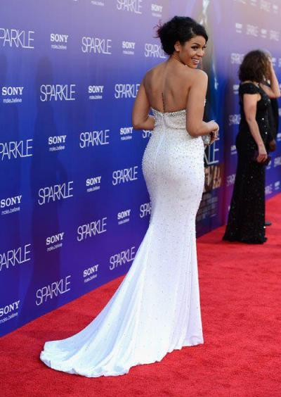 "Jordin Sparksat the premiere ofher new movie, ""Sparkle""last night in Hollywood…"