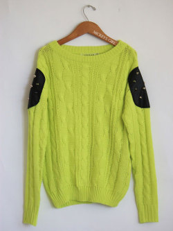 Shop Studded Patch Knit Lime Sweater from Mickey's Girl   http://mickeysgirl.com/new-arrivals/studded-patch-knit-lime-sweater.html