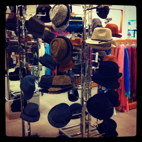 I spy with my little eyes…. A rack of fedoras!!  (Taken with Instagram)