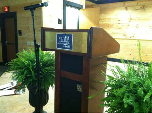 The most official lectern I'll probably ever speak behind.   And bonus: between two ferns.
