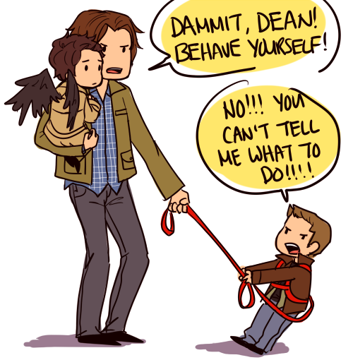 "brakes:  professortennant:  brakes:   fairywine answered: Little Cas and Dean together, with babysitter!Sam? PLEASE MAKE THIS HAPPEN!  ""GIMME BACK MY ANGEL!!!!!""""Dean, Cas isn't a commodity! And you can have him back when you—OW, STOP THAT!!!!""  ""Dean! You can play with Cas when you stop pulling on his wings."" Cas sniffled into Sam's shoulder and peered down at Dean who was tugging uselessly on the leash Sam had to wrap around him. He kept wandering off and tugging little Castiel around with him, determined to help him feed the ducks. Dean stopped his war with the leash to glare and pout at Sam the only way a child can.  ""Sam, Cas likes it! He told me so!"" Sam sighed and knelt down, letting Castiel's feet touch the floor and let his wings flutter to the side. ""Cas? Is that true?"" Cas shyly ducked his head. ""I like it sometimes but,"" he stopped to glare at Dean, his tiny wings ruffling angrily. ""Dean! Sometimes you pull too hard an' it hurts."" Cas felt his eyes water a little and he burrowed his head into Sam's jacket. All of Dean's fight when out of him and he looked helplessly at Sam. Sam pulled a face that looked like he smelled something nasty and also looked like an 'I-told-you-so' was on the horizon. Dean hated when Sam was right. He shuffled up to his angel and stroked a hand down Cas' wings before resting on his back. ""'m sorry, Cas. I won't touch your wings no more."" Castiel's head whipped around and glared at Dean. ""No!"" He blushed and shuffled even closer to Dean so there was very little space between them. ""I like when you touch, just don't tug, 'kay?"" Dean nodded vigorously and reached around to hug his friend. He laughed when Castiel's wings fluttered happily and knocked Dean around the ears. Dean reached for the second harness at the end of Sam's stupid kid leash and hooked Castiel into the restraint before grabbing his angel's hand. He looked up at Sam. ""C'mon, Sammy! Ducks!"" Sam's mouth was hanging open and he felt the two little monsters in his care tug at the leash. Cas looked up at him, tugging on his leash. ""Come, Sam. Dean and I must provide for the ducklings! It's the rules."" Dean grinned and high-fived his friend before they both wrapped pudgy hands around the red harness and pulled. Between the two of them, they managed to get Sam walking towards the lake. Sam just shook his head, baffled at the strange relationship between the baby angel and Dean. Kids these days.  WOW I DIDN'T THINK IT WAS POSSIBLE TO DIE FROM CUTE BUT THERE YOU GO"