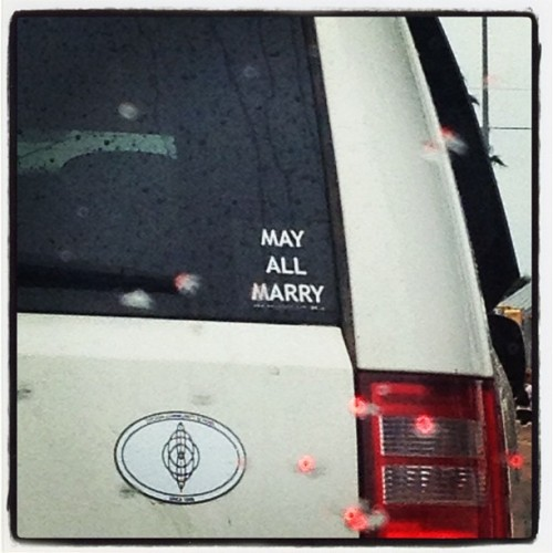 green-suspenders:  Best bumper sticker.  (Taken with Instagram)