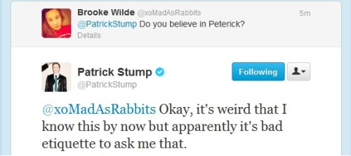 youlittlearsonist:  PATRICK STUMP I LOVE YOU YOUR ANSWERS ARE THE BEST ANSWERS