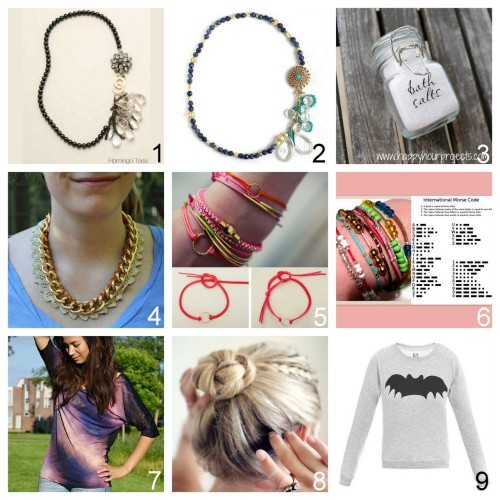 Roundup Nine DIY Beauty, Jewelry, Accessories and Fashion Tutorials PART TWO. Roundup of this past week. August 12th - August 18th, 2012. *For past roundups go here: trebluemeandyou.tumblr.com/tagged/roundup DIY Anthropologie Electrolier Necklace Tutorial from Flamingo Toes here. DIY Anthropologie Electrolier Necklace from Small Good Things here (a version of Flamingo Toes' knockoff).  DIY Easy and Inexpensive Bath Salts from Happy Hour Projects here.  DIY Venessa Arizaga Lace Inspired Necklace from stripes + sequins here. DIY Cord Charm Bracelet with Knotted Closure Tutorial from Passions for Fashion here. DIY Morse Code Bracelets Using Crimp Beads Tutorial from Teahab here. DIY Galaxy Shirt Tutorial from Beauty Lab here. DIY Easy Braided Bun Tutorial from This Chick's Got Style here. DIY Inspiration: $123 Zoe Karssen Bat Print Sweater here.