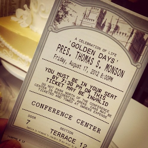 i was lucky enough to get ONE ticket to Thomas S. Monson's birthday celebration tonight aaand then i got called into work… 😭💔 #justmyluck #bummedout #whyme #thomasSmonson #lds #mormon #missinout #nooooo! anybody want it? hah (Taken with Instagram)