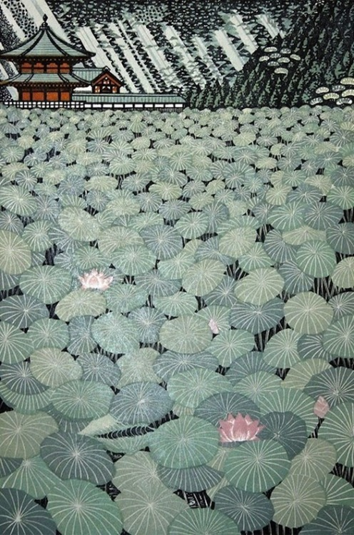 artemisdreaming:  Lotus Pond, woodblock Ray Morimura