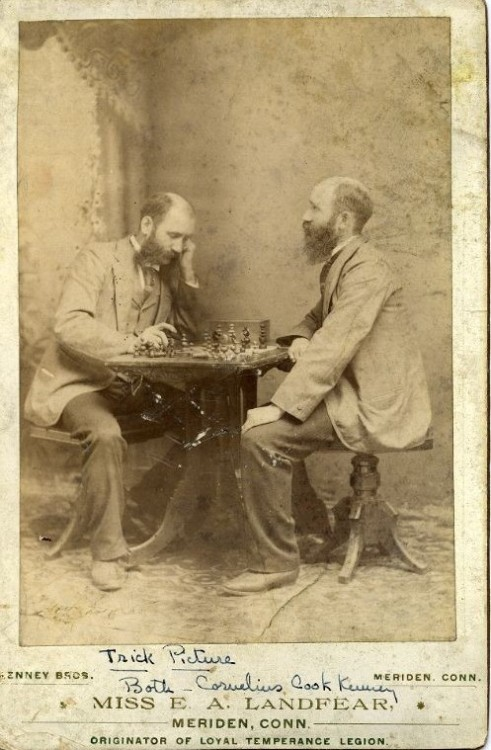 ca. 1900, [trick portrait of Cornelius C. Kenney playing chess with his double], Kenney Bros. via Harvard University's Schlesinger Library on the History of Women in America, Radcliffe Institute