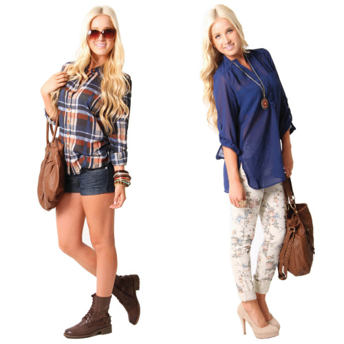 Outfit vote! Plaid or floral? Tell us your fave! Shop online for these looks here >