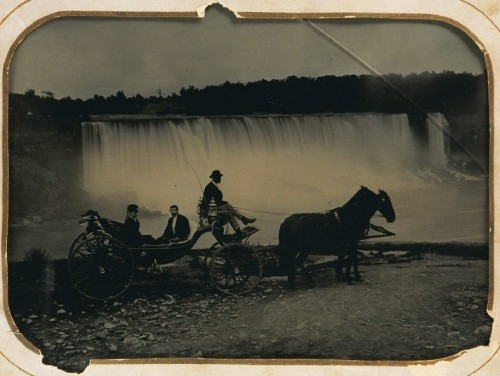 ca. 1869, [ambrotype portrait of a woman, gentleman, and driver in horse-drawn carriage at Niagara Falls] via Harvard University's Houghton Library, Department of Printing and Graphic Art, Harrison D. Horblit Collection of Early Photography