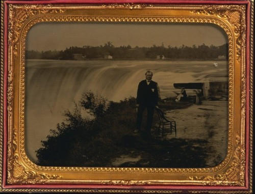 ca. 1858, [ambrotype portrait of a gentleman at Niagara Falls] via Harvard University's Houghton Library, Department of Printing and Graphic Art, Harrison D. Horblit Collection of Early Photography