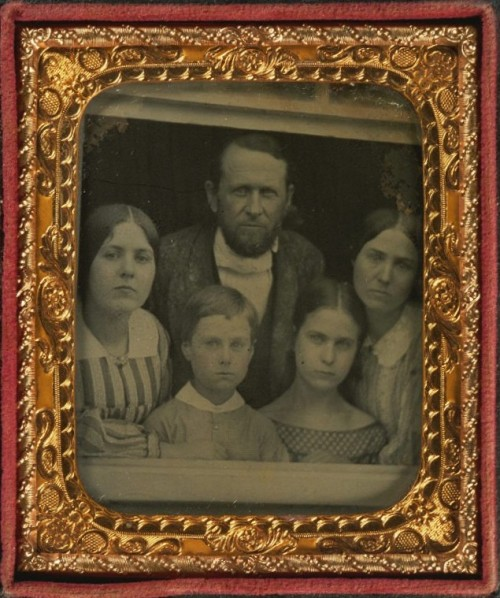 ca. 1860, [ambrotype portrait of a family at a window] via Harvard University's Houghton Library, Department of Printing and Graphic Art, Harrison D. Horblit Collection of Early Photography