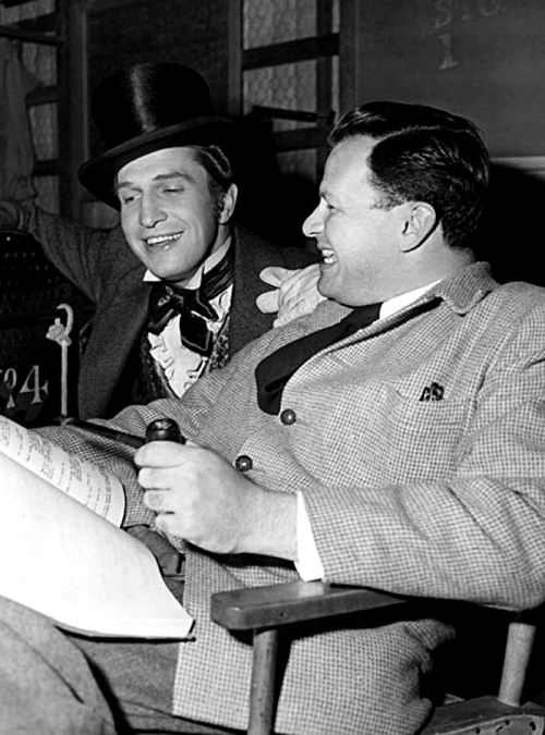 theuncannythings:  Vincent Price and director Joseph L. Mankiewicz on the set of Dragonwyck (1946)