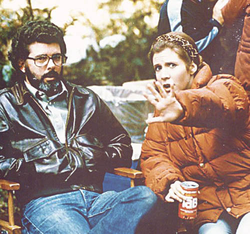 George Lucas and Carrie Fisher on the set of Star Wars: Episode VI - Return of the Jedi (1983)