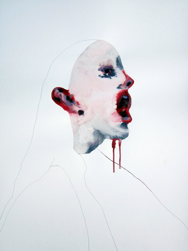 Klone - Everybody hears nobody listen, Watercolor + pencil on paper, 70x52cm, 2012