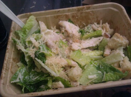Eating the best chicken caesar salad I've ever tasted. If you're ever in Santa Barbara, try South Coast Deli.  …they have it in sandwich form too its fucking delicious.