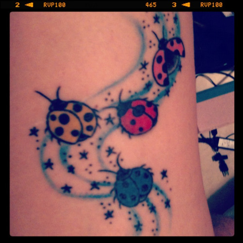 Latest tattoo! I got the red lady bug in 2006/7 and finally decided to get some more added. :-)