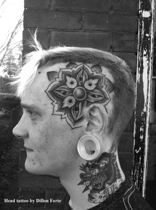 Dotwork head tattoo by Dillon Forte while in Massachusettes doing a guest spot at Off the Map Tattoo.