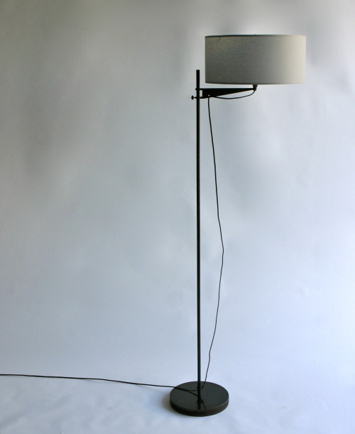 Winnisook Lamp. grey shade. blackened steel.