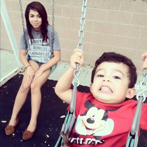 These two. 😄😁 #mom #son #swings #smile #mickeymouse #family (Taken with Instagram)