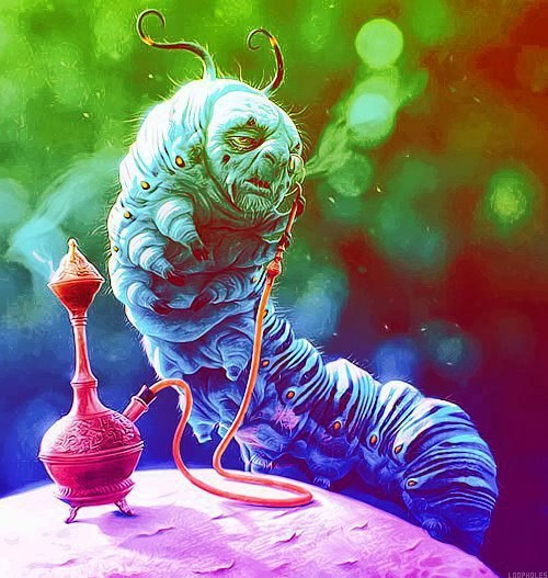 Shisha catterpillar smoke rainbow trippy Alice in Wonderland chill