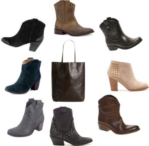 Fall 2012 Shoe Trend: Cowboy Booties! by ischele featuring wedge heelsZara  boots / Bertie wedge heels / Mango leather cowboy boots / Chinese Laundry leather western boots / Zara cowboy booties / Ash suede boots, $230 / Madison Harding cowboy booties / Melissa flat boots / Jigsaw leather tote, $250