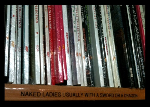 ourvaluedcustomers:  Hilarious shelf tag in Toronto's SILVER SNAIL COMICS. This store is awesome! (And they have the OVC book in stock…)