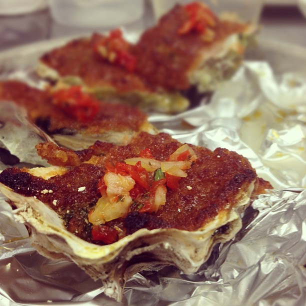 #baked #chorizo royal miyagi #oysters. #work #gardemanger  (Taken with Instagram)
