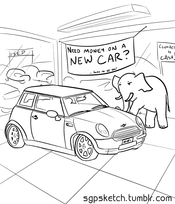 sgpsketch:  Mini Week: Cooper Notes: Because when it's late and I'm tired, CLEARLY the best thing to draw is a car I only sorta remember how to draw =p   This entry is somewhat prescient.